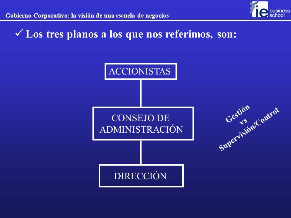 ACCIONISTAS CONSEJO DE ADMINISTRACIÓN DIRECCIÓN Gobierno Corporativo: la visión de una escuela de negocios Los tres planos a los que nos referimos, so