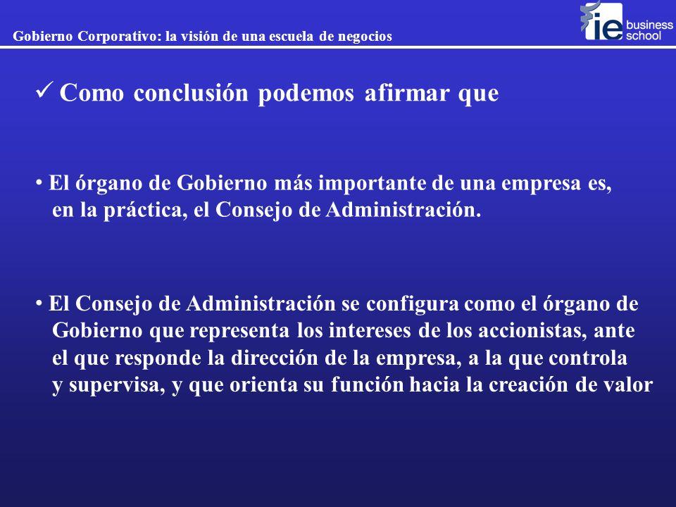 El Consejo de Administración se configura como el órgano de Gobierno que representa los intereses de los accionistas, ante el que responde la direcció
