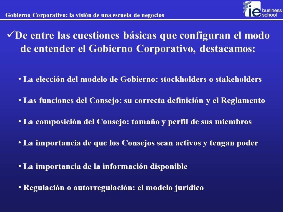 La elección del modelo de Gobierno: stockholders o stakeholders Las funciones del Consejo: su correcta definición y el Reglamento La composición del C