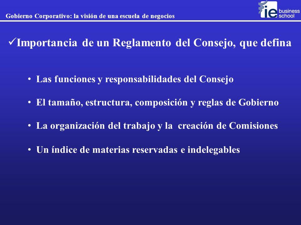 Importancia de un Reglamento del Consejo, que defina Las funciones y responsabilidades del Consejo El tamaño, estructura, composición y reglas de Gobi
