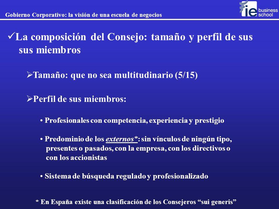 La composición del Consejo: tamaño y perfil de sus sus miembros Gobierno Corporativo: la visión de una escuela de negocios Tamaño: que no sea multitud