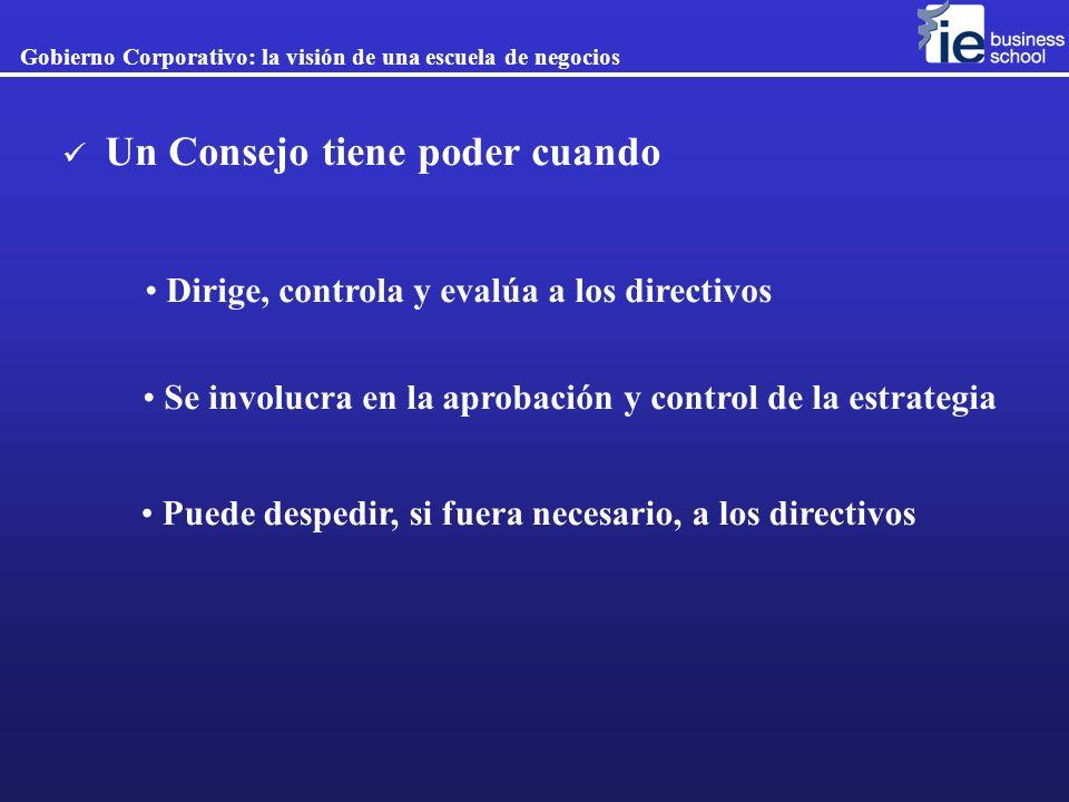 Dirige, controla y evalúa a los directivos Se involucra en la aprobación y control de la estrategia Puede despedir, si fuera necesario, a los directiv