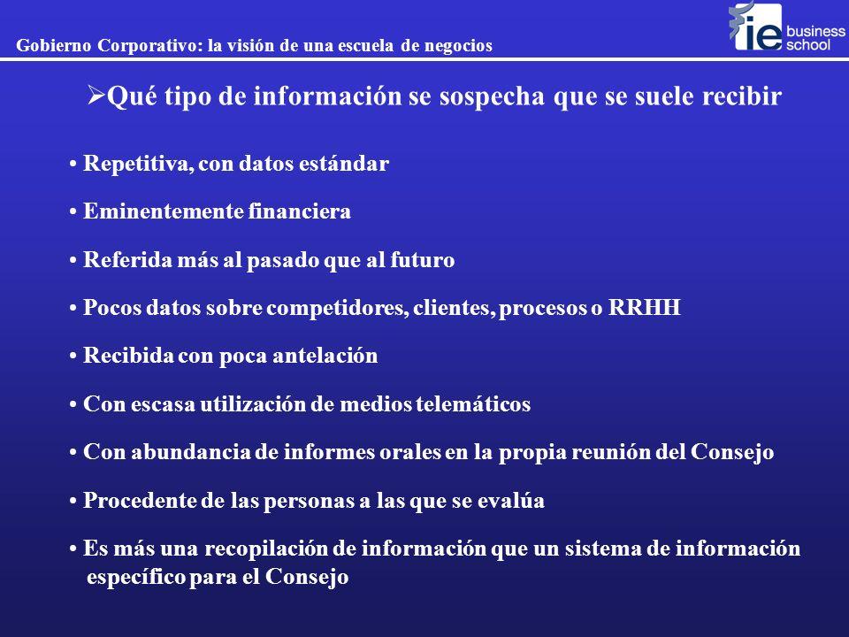 Gobierno Corporativo: la visión de una escuela de negocios Qué tipo de información se sospecha que se suele recibir Repetitiva, con datos estándar Emi