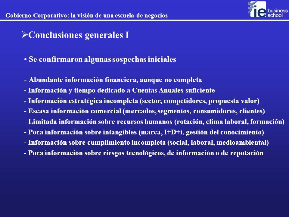 Gobierno Corporativo: la visión de una escuela de negocios Conclusiones generales I Se confirmaron algunas sospechas iniciales - Abundante información