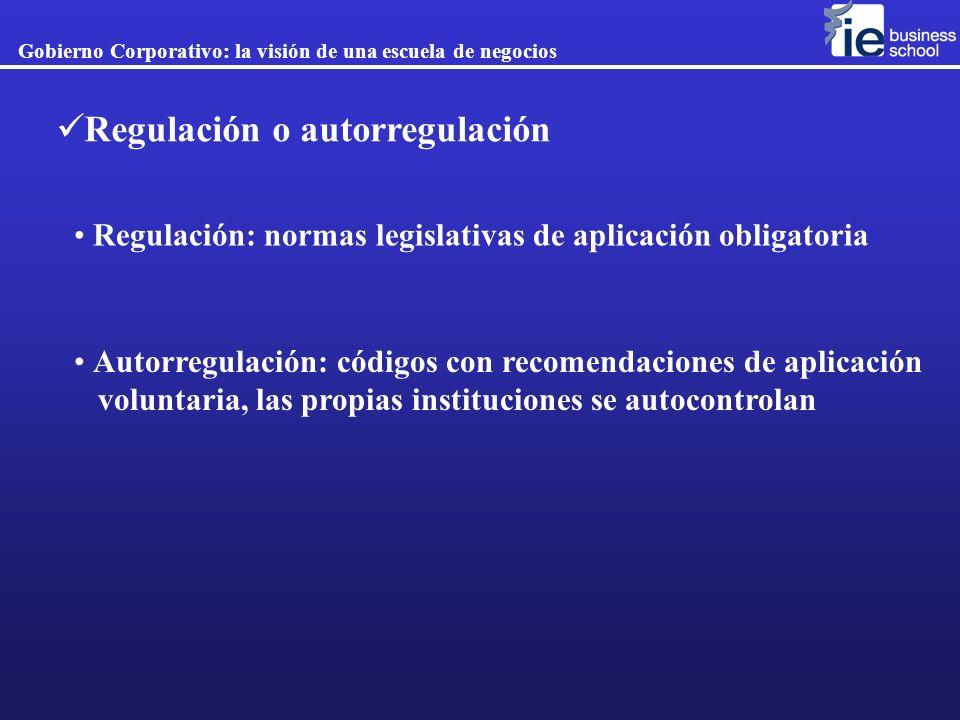 Regulación: normas legislativas de aplicación obligatoria Autorregulación: códigos con recomendaciones de aplicación voluntaria, las propias instituci