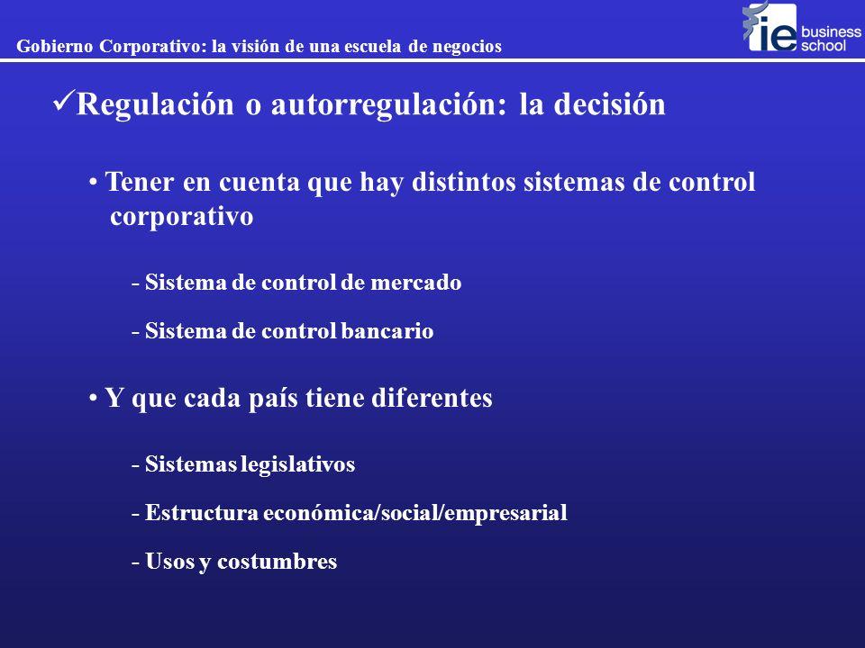 Regulación o autorregulación: la decisión Gobierno Corporativo: la visión de una escuela de negocios Tener en cuenta que hay distintos sistemas de con