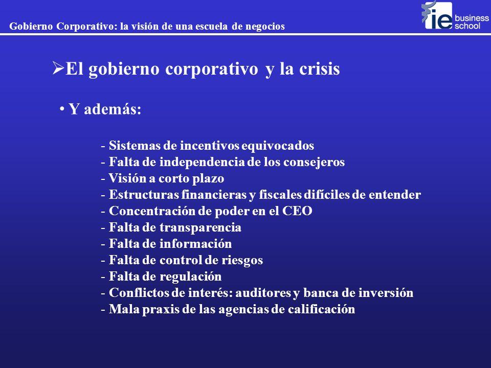 Gobierno Corporativo: la visión de una escuela de negocios El gobierno corporativo y la crisis Y además: - Sistemas de incentivos equivocados - Falta