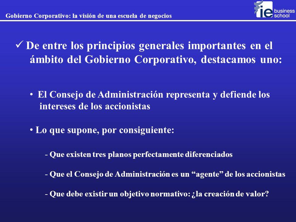 El Consejo de Administración representa y defiende los intereses de los accionistas Lo que supone, por consiguiente: De entre los principios generales