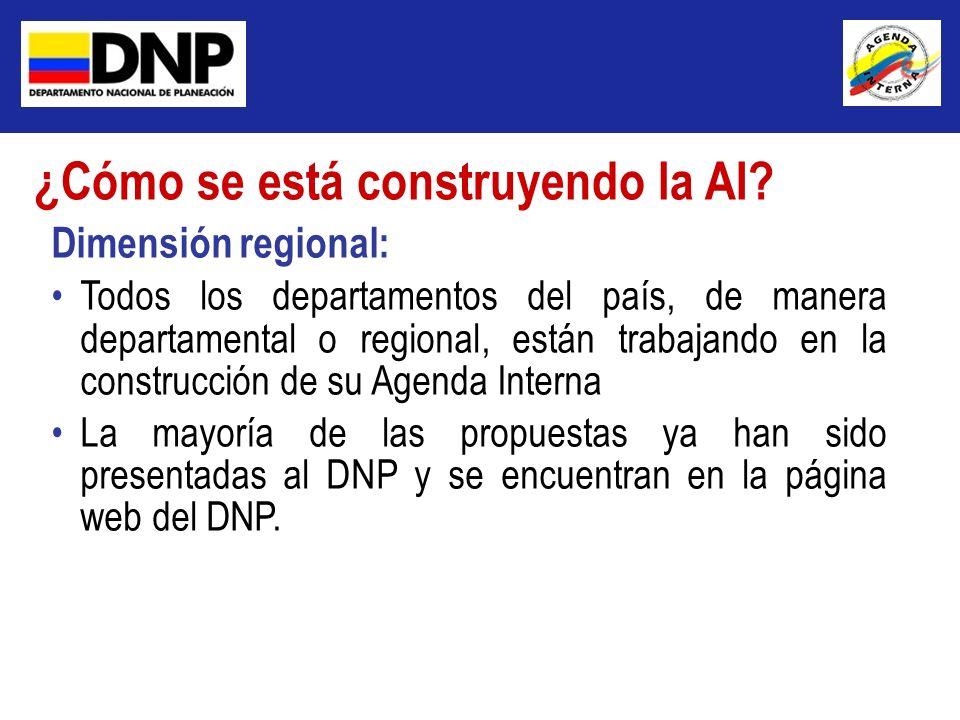 Dimensión regional: Todos los departamentos del país, de manera departamental o regional, están trabajando en la construcción de su Agenda Interna La
