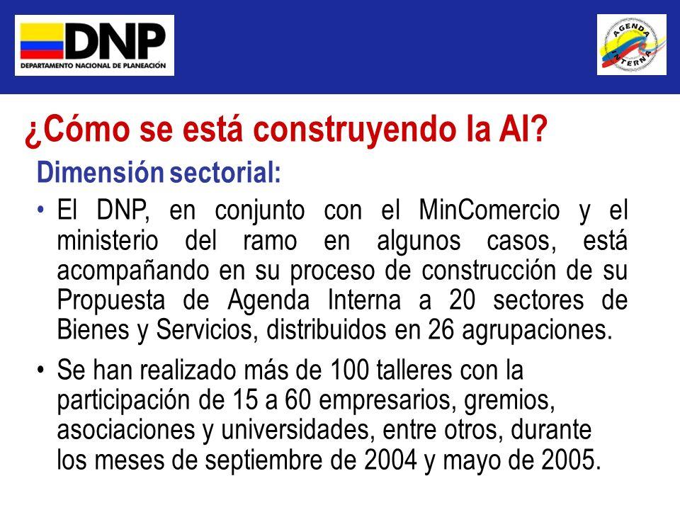 Dimensión sectorial: El DNP, en conjunto con el MinComercio y el ministerio del ramo en algunos casos, está acompañando en su proceso de construcción