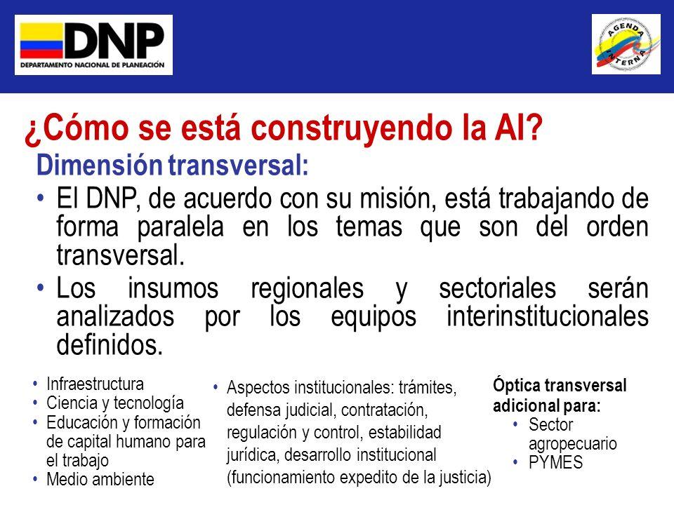 Dimensión transversal: El DNP, de acuerdo con su misión, está trabajando de forma paralela en los temas que son del orden transversal. Los insumos reg