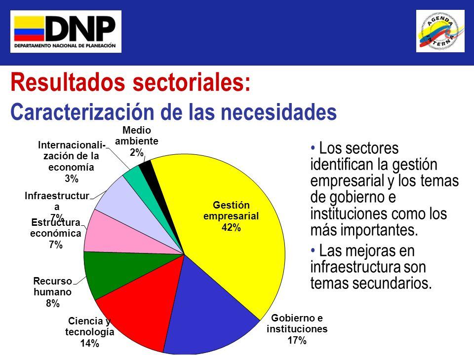 Resultados sectoriales: Caracterización de las necesidades Los sectores identifican la gestión empresarial y los temas de gobierno e instituciones com