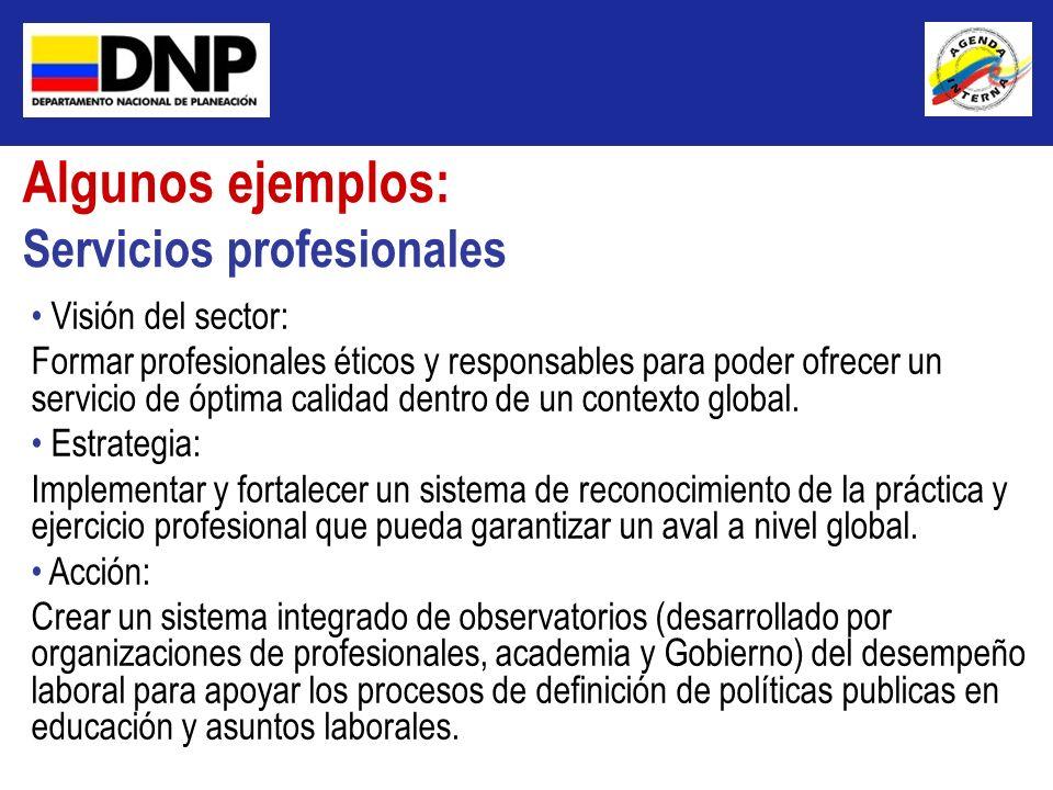 Algunos ejemplos: Servicios profesionales Visión del sector: Formar profesionales éticos y responsables para poder ofrecer un servicio de óptima calid