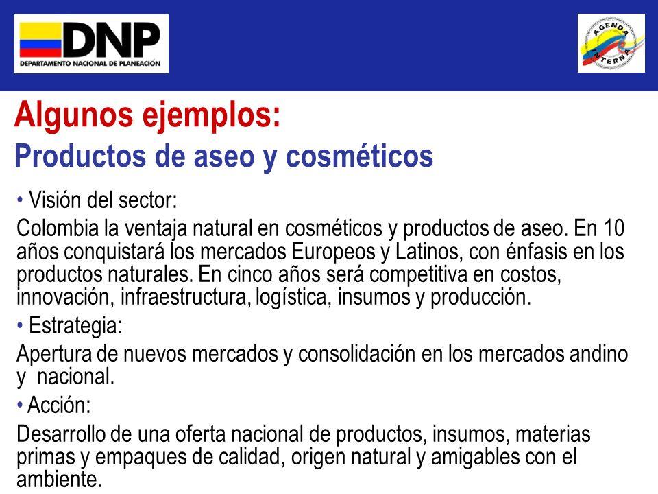Algunos ejemplos: Productos de aseo y cosméticos Visión del sector: Colombia la ventaja natural en cosméticos y productos de aseo. En 10 años conquist