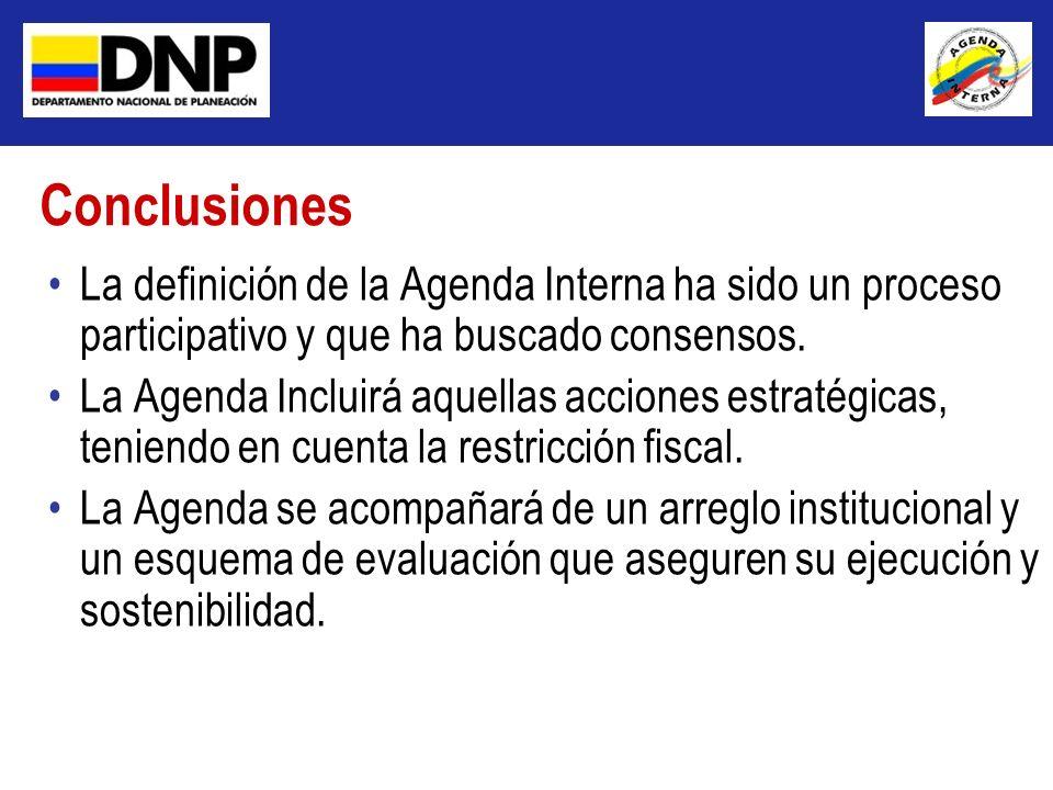 La definición de la Agenda Interna ha sido un proceso participativo y que ha buscado consensos. La Agenda Incluirá aquellas acciones estratégicas, ten