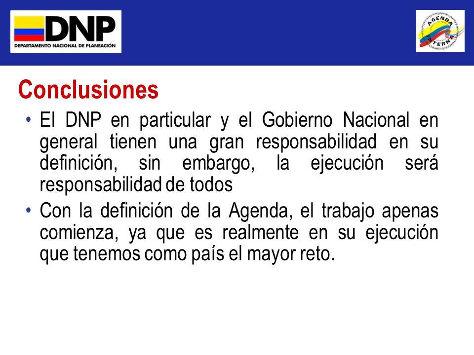 El DNP en particular y el Gobierno Nacional en general tienen una gran responsabilidad en su definición, sin embargo, la ejecución será responsabilida