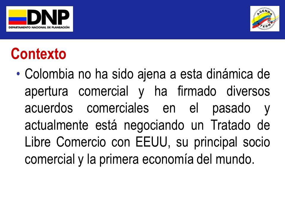 Colombia no ha sido ajena a esta dinámica de apertura comercial y ha firmado diversos acuerdos comerciales en el pasado y actualmente está negociando
