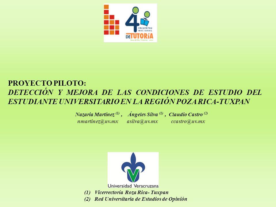 PROYECTO PILOTO: DETECCIÓN Y MEJORA DE LAS CONDICIONES DE ESTUDIO DEL ESTUDIANTE UNIVERSITARIO EN LA REGIÓN POZA RICA-TUXPAN Nazaria Martínez (1), Áng