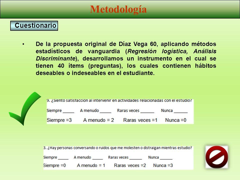 De la propuesta original de Díaz Vega 60, aplicando métodos estadísticos de vanguardia (Regresión logística, Análisis Discriminante), desarrollamos un