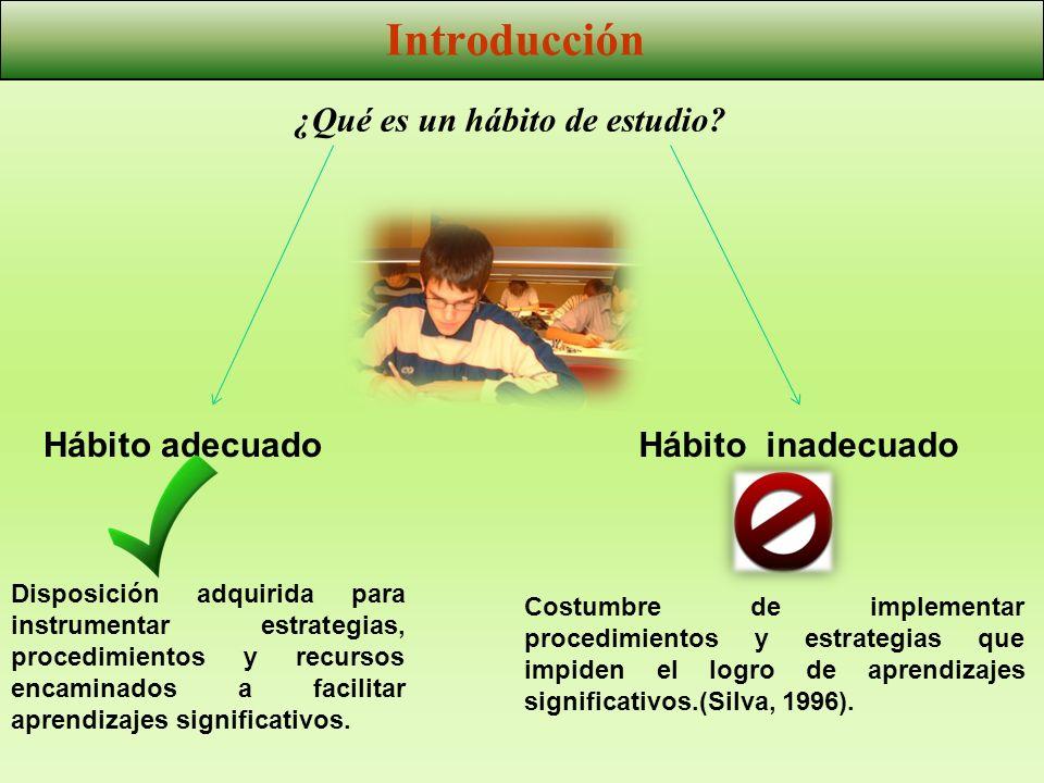 Disposición adquirida para instrumentar estrategias, procedimientos y recursos encaminados a facilitar aprendizajes significativos. ¿Qué es un hábito