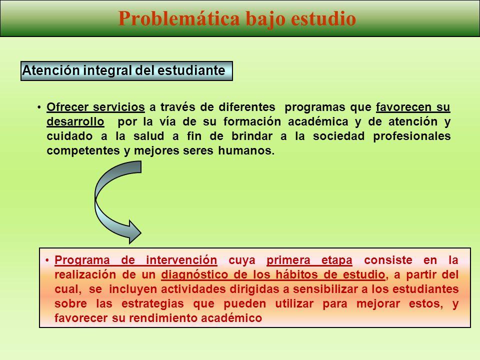 Atención integral del estudiante Problemática bajo estudio Ofrecer servicios a través de diferentes programas que favorecen su desarrollo por la vía d