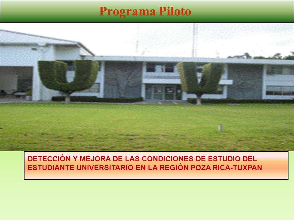 Programa Piloto DETECCIÓN Y MEJORA DE LAS CONDICIONES DE ESTUDIO DEL ESTUDIANTE UNIVERSITARIO EN LA REGIÓN POZA RICA-TUXPAN