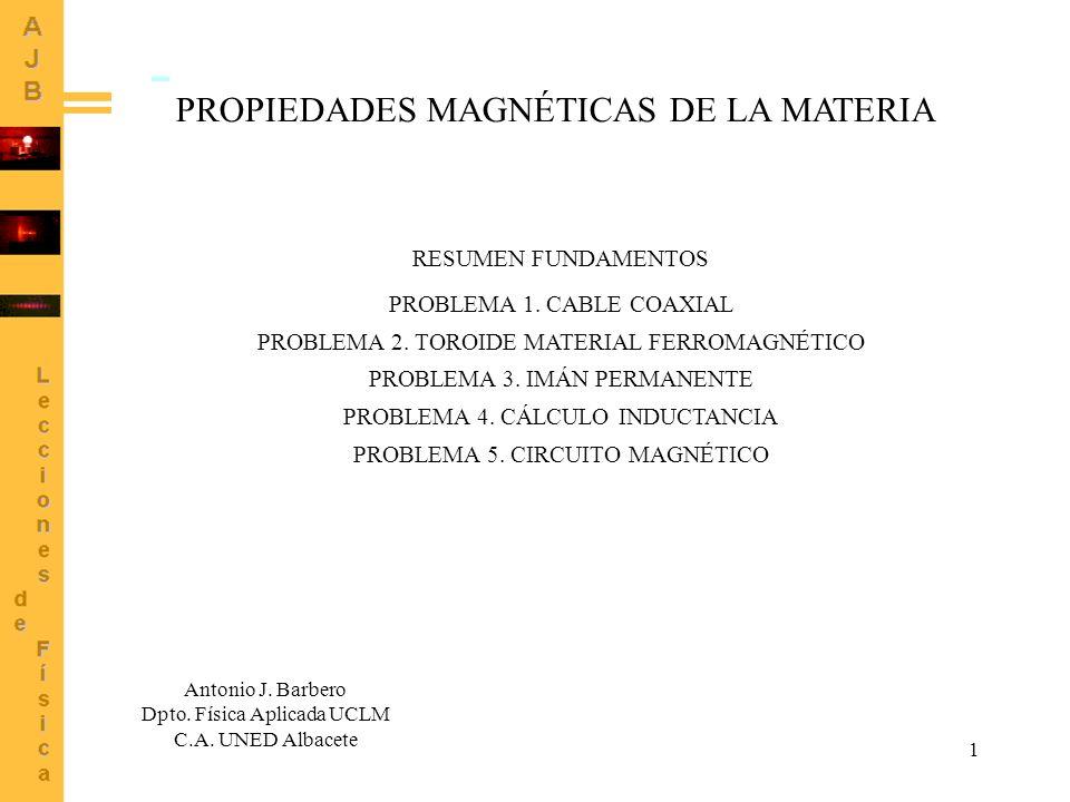 1 PROPIEDADES MAGNÉTICAS DE LA MATERIA Antonio J. Barbero Dpto. Física Aplicada UCLM C.A. UNED Albacete RESUMEN FUNDAMENTOS PROBLEMA 1. CABLE COAXIAL