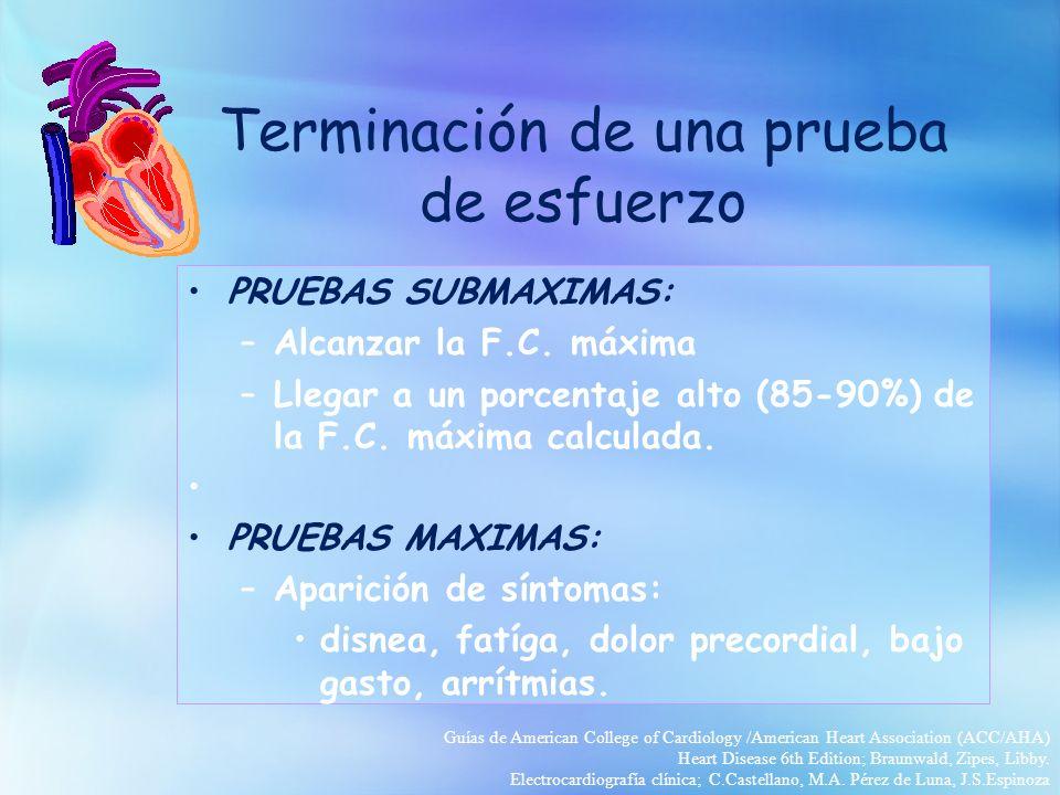 Terminación de una prueba de esfuerzo PRUEBAS SUBMAXIMAS: –Alcanzar la F.C. máxima –Llegar a un porcentaje alto (85-90%) de la F.C. máxima calculada.