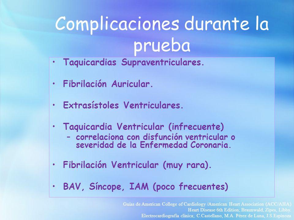 Complicaciones durante la prueba Taquicardias Supraventriculares. Fibrilación Auricular. Extrasístoles Ventriculares. Taquicardia Ventricular (infrecu