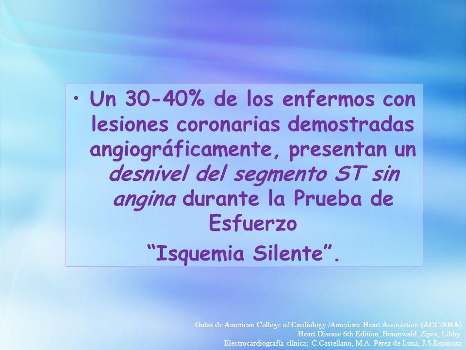 Un 30-40% de los enfermos con lesiones coronarias demostradas angiográficamente, presentan un desnivel del segmento ST sin angina durante la Prueba de Esfuerzo Isquemia Silente.