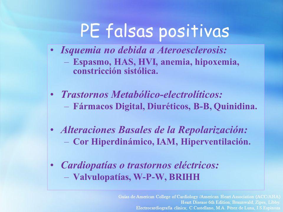 PE falsas positivas Isquemia no debida a Ateroesclerosis: –Espasmo, HAS, HVI, anemia, hipoxemia, constricción sistólica. Trastornos Metabólico-electro