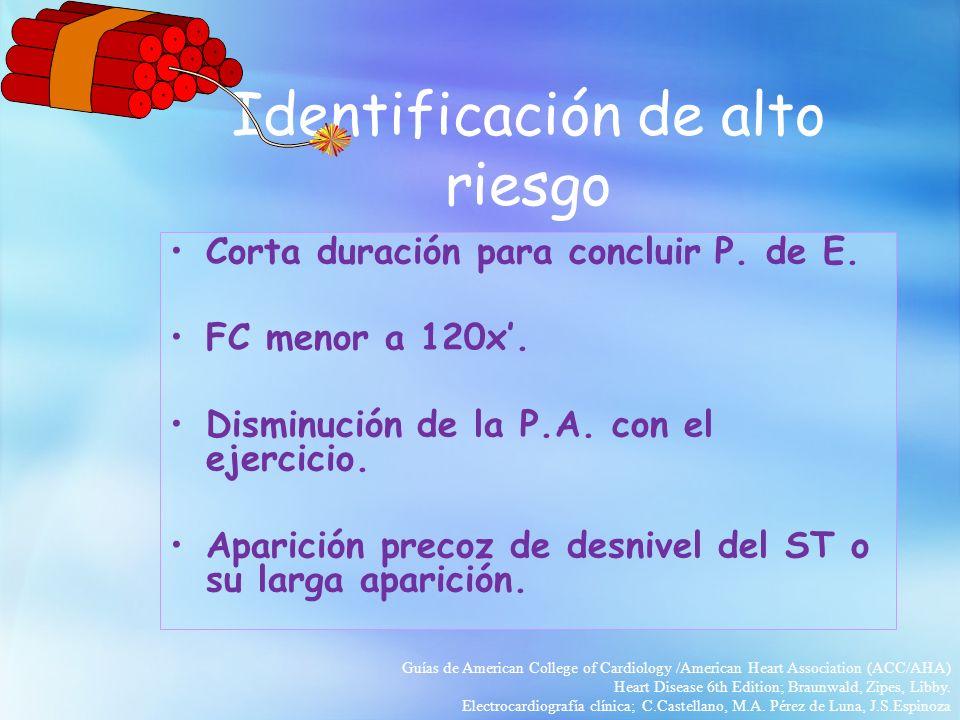Identificación de alto riesgo Corta duración para concluir P. de E. FC menor a 120x. Disminución de la P.A. con el ejercicio. Aparición precoz de desn