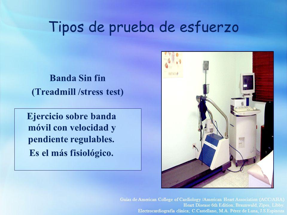 Banda Sin fin (Treadmill /stress test) Ejercicio sobre banda móvil con velocidad y pendiente regulables.
