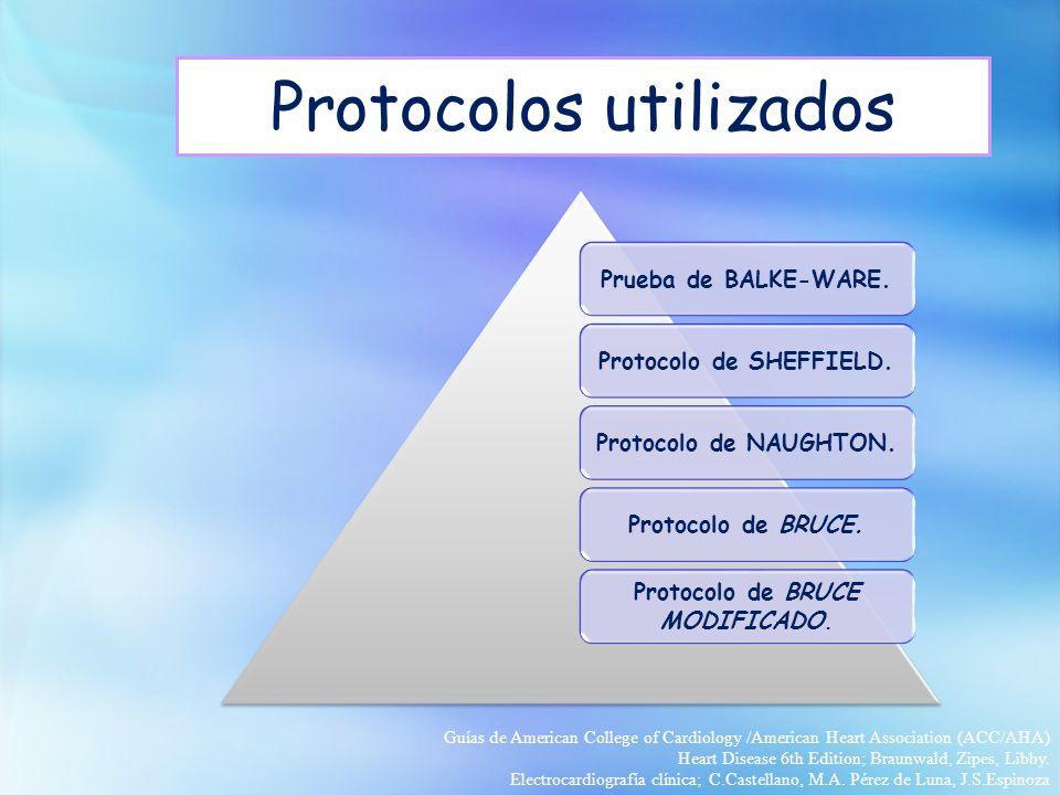 Protocolos utilizados Prueba de BALKE-WARE.Protocolo de SHEFFIELD.Protocolo de NAUGHTON.Protocolo de BRUCE. Protocolo de BRUCE MODIFICADO. Guías de Am