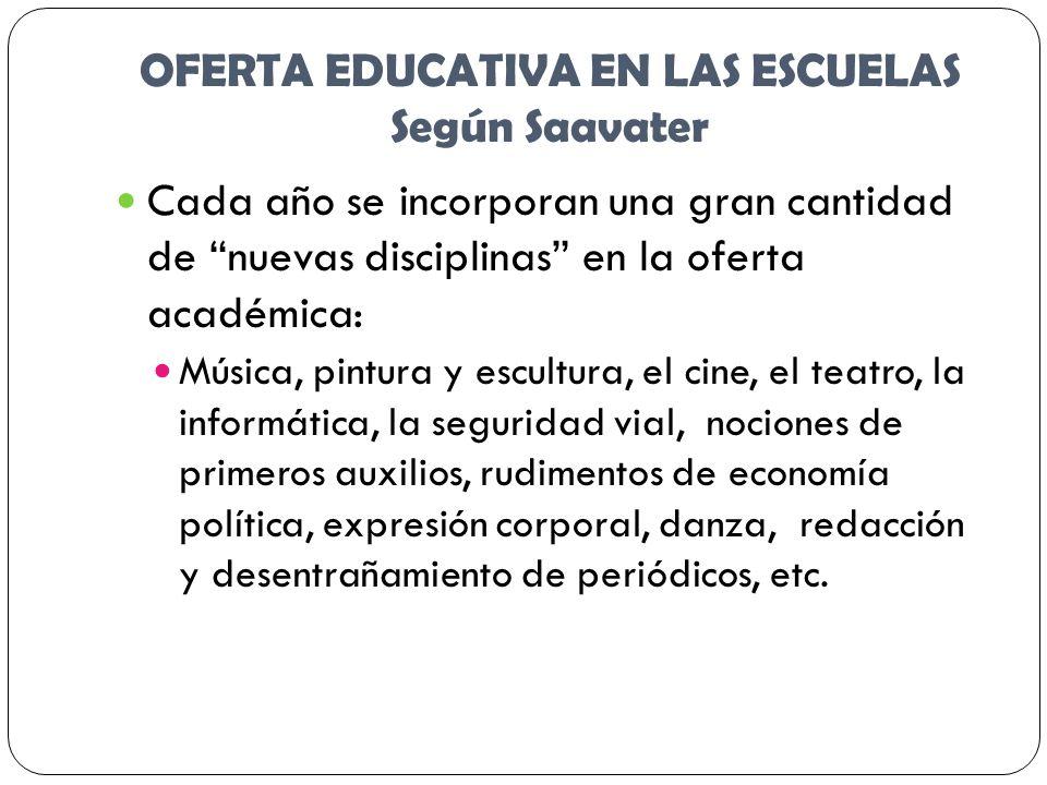 OFERTA EDUCATIVA EN LAS ESCUELAS Según Saavater Cada año se incorporan una gran cantidad de nuevas disciplinas en la oferta académica: Música, pintura