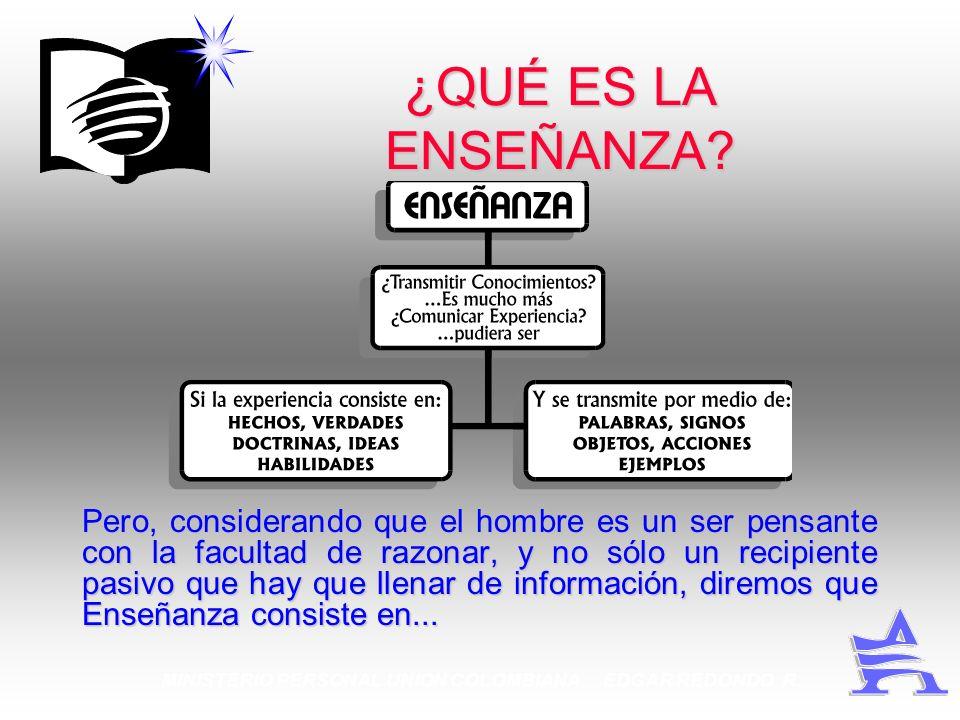 MINISTERIO PERSONAL UNION COLOMBIANA EDGAR REDONDO R. ¿QUÉ ES LA ENSEÑANZA? Pero, considerando que el hombre es un ser pensante con la facultad de raz