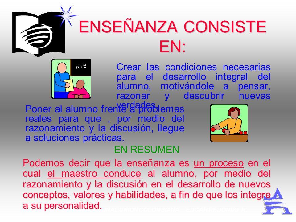 MINISTERIO PERSONAL UNION COLOMBIANA EDGAR REDONDO R. ENSEÑANZA CONSISTE EN: Poner al alumno frente a problemas reales para que, por medio del razonam
