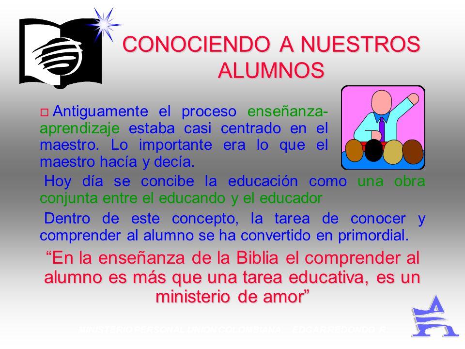 MINISTERIO PERSONAL UNION COLOMBIANA EDGAR REDONDO R. CONOCIENDO A NUESTROS ALUMNOS Hoy día se concibe la educación como una obra conjunta entre el ed
