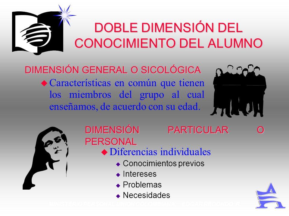 MINISTERIO PERSONAL UNION COLOMBIANA EDGAR REDONDO R. DOBLE DIMENSIÓN DEL CONOCIMIENTO DEL ALUMNO DIMENSIÓN GENERAL O SICOLÓGICA u Características en