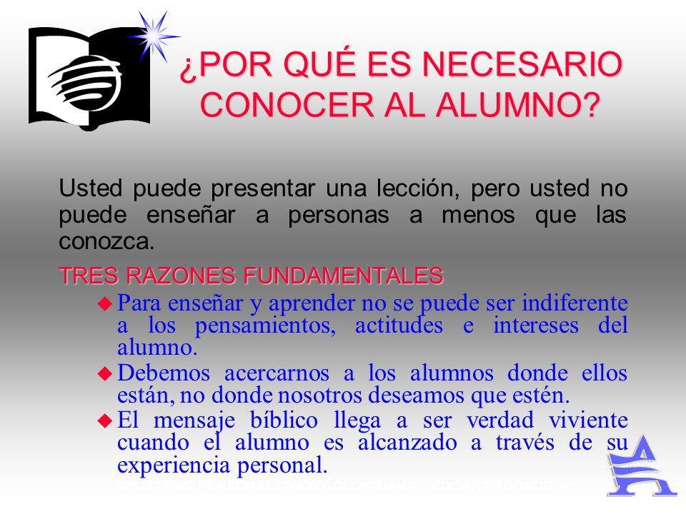 MINISTERIO PERSONAL UNION COLOMBIANA EDGAR REDONDO R. ¿POR QUÉ ES NECESARIO CONOCER AL ALUMNO? Usted puede presentar una lección, pero usted no puede