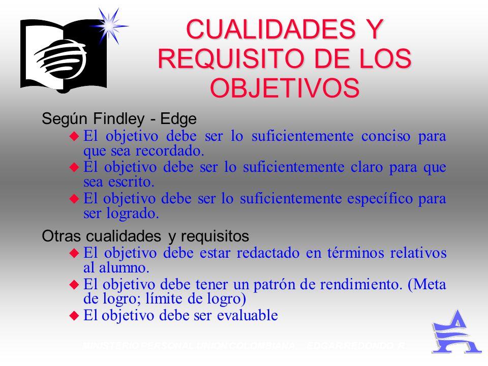 MINISTERIO PERSONAL UNION COLOMBIANA EDGAR REDONDO R. CUALIDADES Y REQUISITO DE LOS OBJETIVOS Según Findley - Edge u El objetivo debe ser lo suficient
