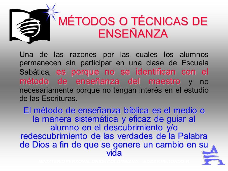 MINISTERIO PERSONAL UNION COLOMBIANA EDGAR REDONDO R. MÉTODOS O TÉCNICAS DE ENSEÑANZA es porque no se identifican con el método de enseñanza del maest
