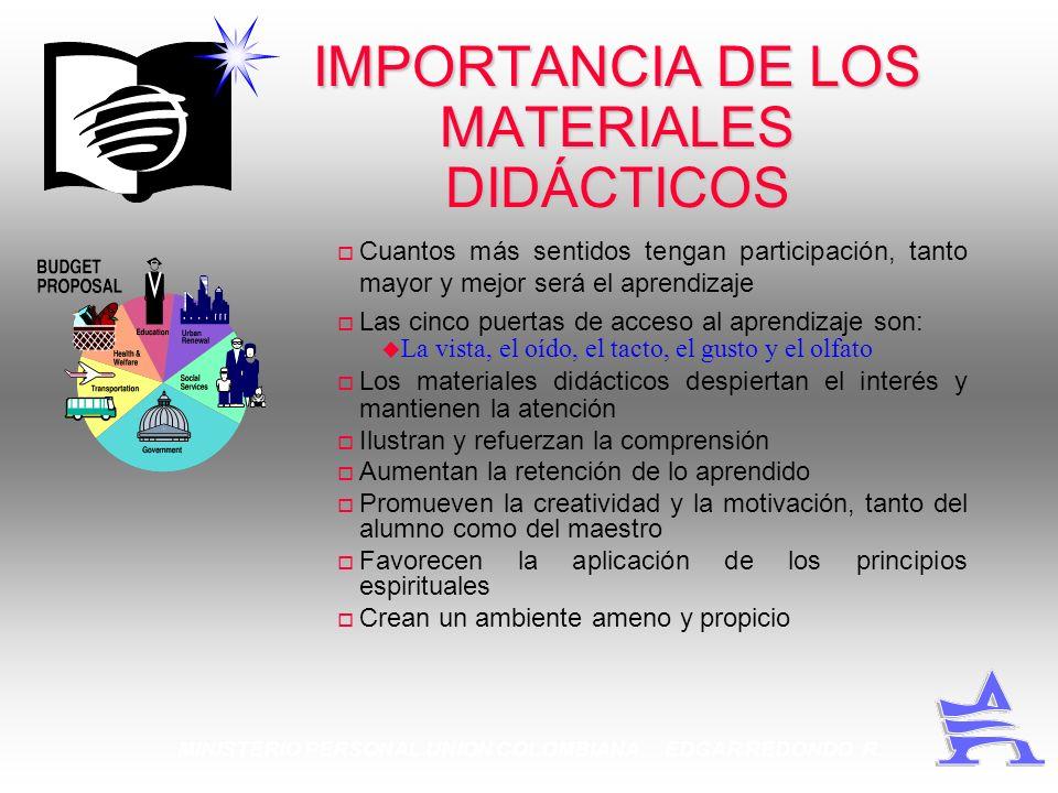 MINISTERIO PERSONAL UNION COLOMBIANA EDGAR REDONDO R. IMPORTANCIA DE LOS MATERIALES DIDÁCTICOS Cuantos más sentidos tengan participación, tanto mayor