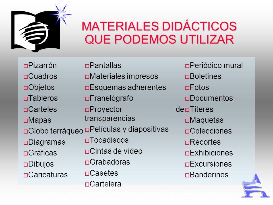 MINISTERIO PERSONAL UNION COLOMBIANA EDGAR REDONDO R. MATERIALES DIDÁCTICOS QUE PODEMOS UTILIZAR Pizarrón Cuadros Objetos Tableros Carteles Mapas Glob