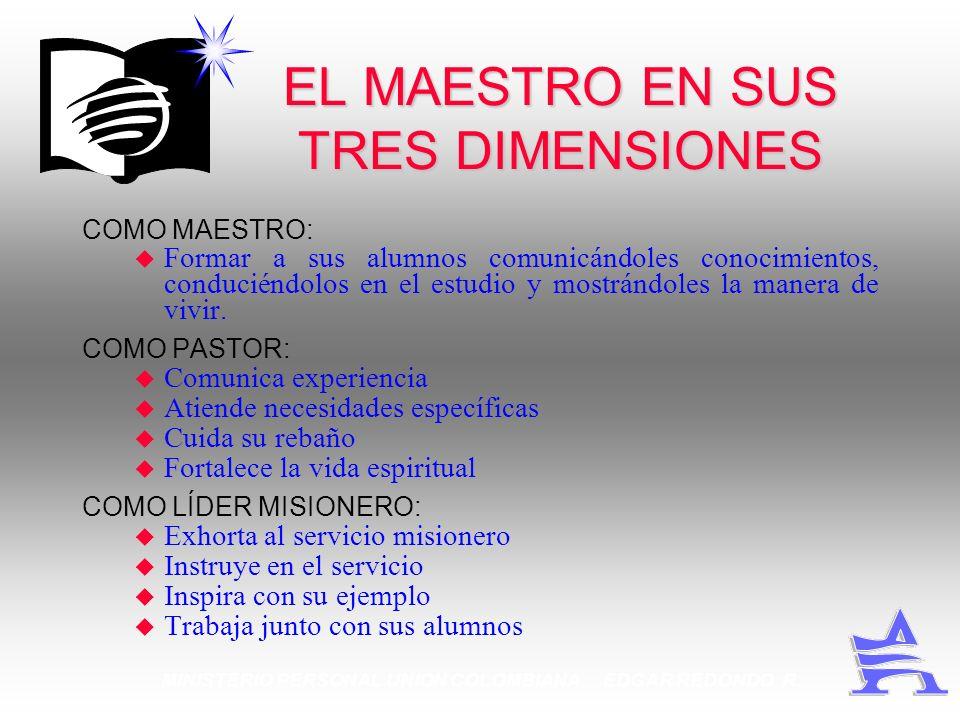 MINISTERIO PERSONAL UNION COLOMBIANA EDGAR REDONDO R. EL MAESTRO EN SUS TRES DIMENSIONES COMO MAESTRO: u Formar a sus alumnos comunicándoles conocimie