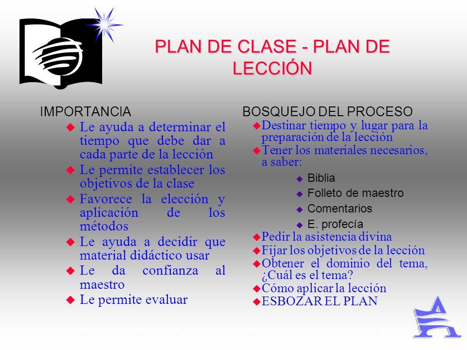MINISTERIO PERSONAL UNION COLOMBIANA EDGAR REDONDO R. PLAN DE CLASE - PLAN DE LECCIÓN IMPORTANCIA u Le ayuda a determinar el tiempo que debe dar a cad