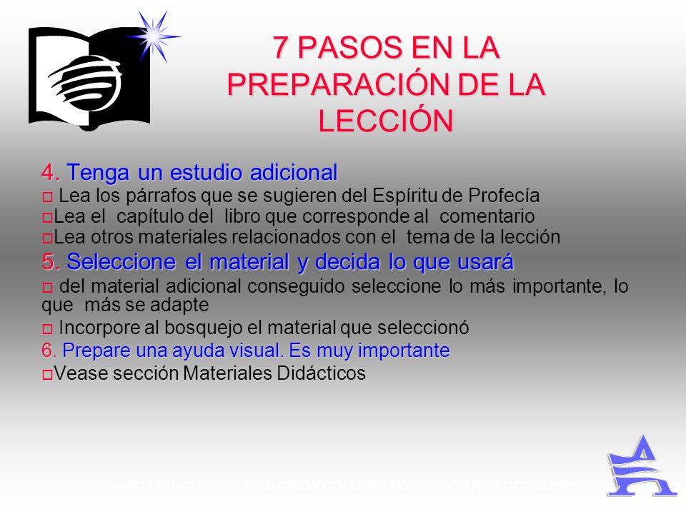 MINISTERIO PERSONAL UNION COLOMBIANA EDGAR REDONDO R. 7 PASOS EN LA PREPARACIÓN DE LA LECCIÓN 4.Tenga un estudio adicional 4. Tenga un estudio adicion