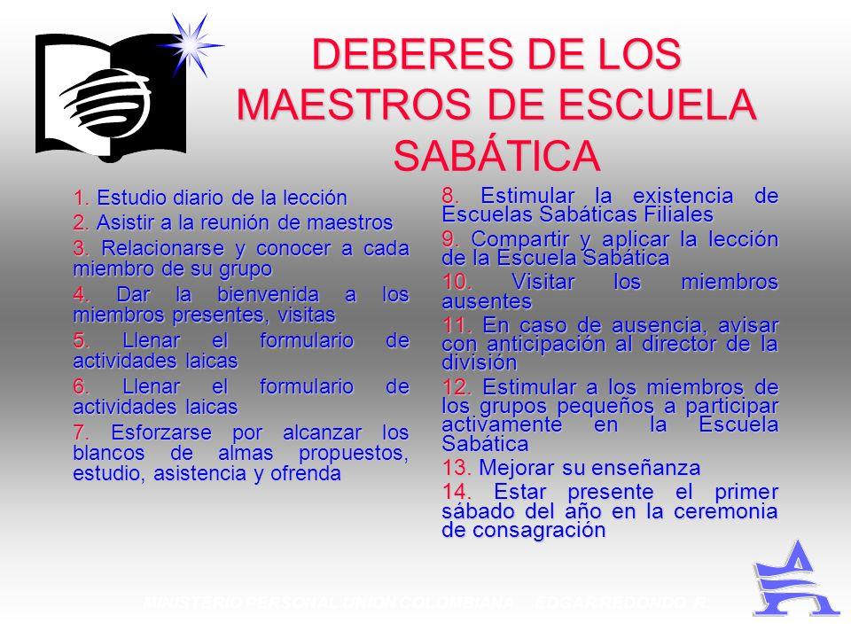 MINISTERIO PERSONAL UNION COLOMBIANA EDGAR REDONDO R. DEBERES DE LOS MAESTROS DE ESCUELA SABÁTICA 1. Estudio diario de la lección 2. Asistir a la reun
