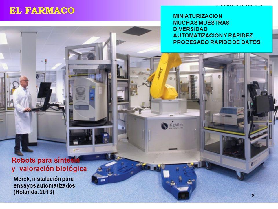 8 Robots para síntesis y valoración biológica MINIATURIZACION MUCHAS MUESTRAS DIVERSIDAD AUTOMATIZACION Y RAPIDEZ PROCESADO RAPIDO DE DATOS Merck, ins
