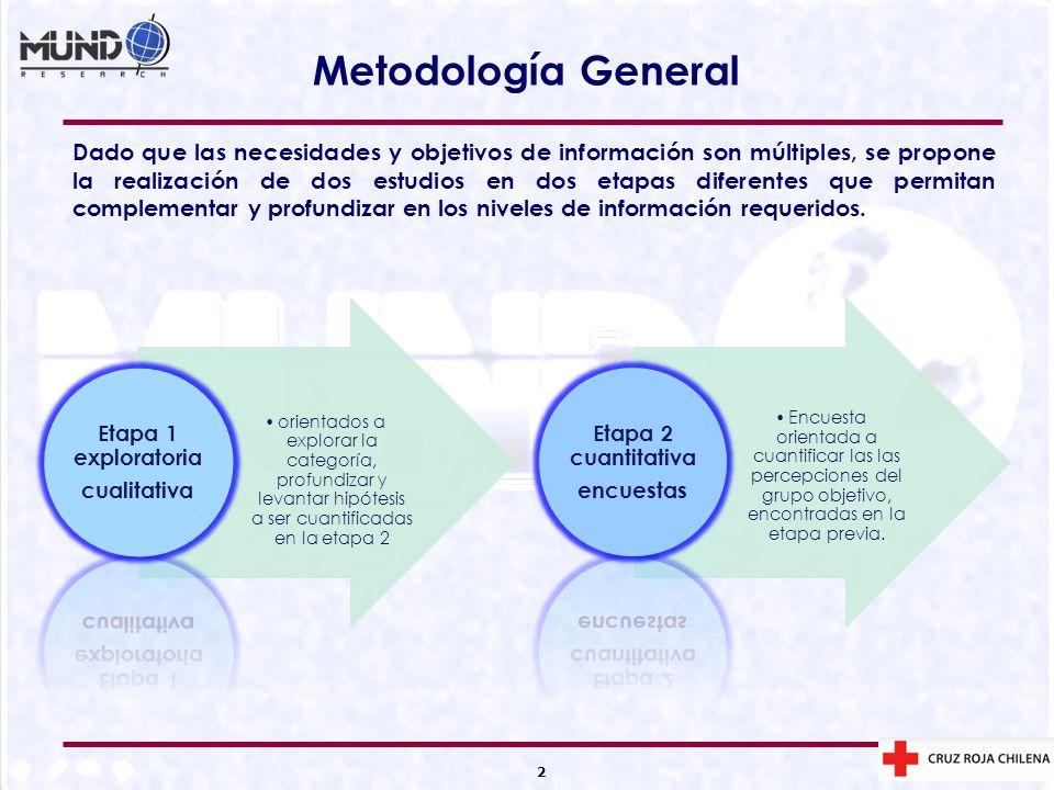 2 Metodología General Dado que las necesidades y objetivos de información son múltiples, se propone la realización de dos estudios en dos etapas difer